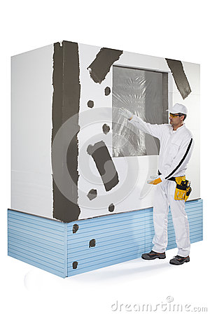Worker presenting a reinforced window frame