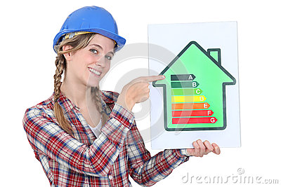 Worker promoting energy savings.