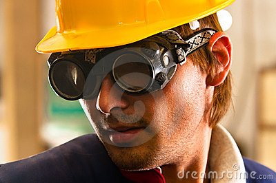 Worker in protective suit