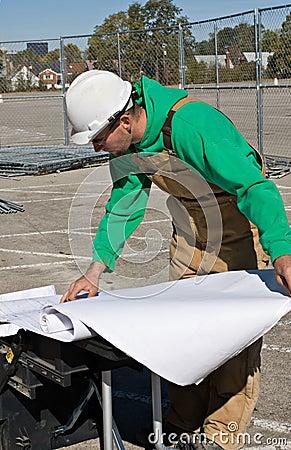 Worker Reading Blueprints