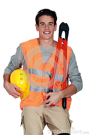 Worker in a reflective vest