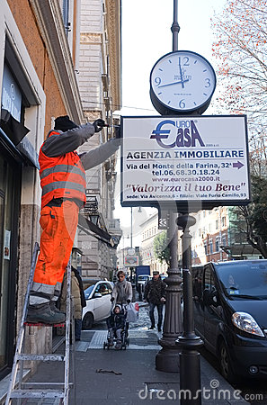 Worker in Rome Editorial Stock Image
