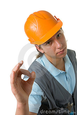 The worker showing okay gesture.