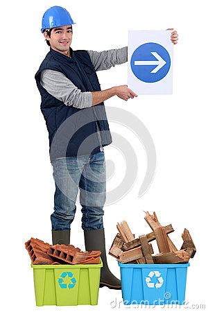 Free Worker Showing The Way To Recycling. Stock Images - 28901714