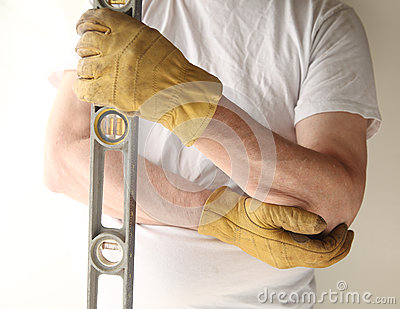 Worker with sore elbow