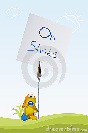 Worker on strike
