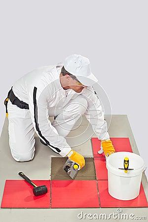 Worker Tile Adhesive with Trowel Tile Floor