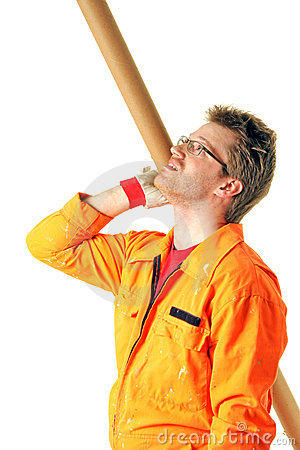 Worker With Tool Looking Upstairs Royalty Free Stock Images - Image: 10295959