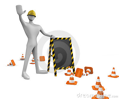 worker with traffic cones and board