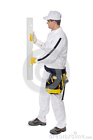 Worker wall level on white background