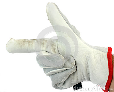 Worker Wearing Leather Work Glove Pointing to the left