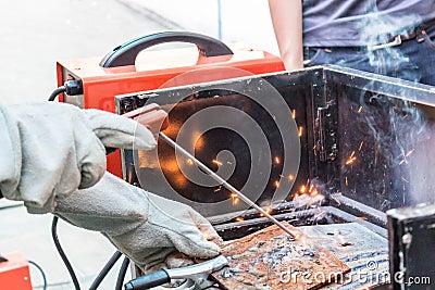 Worker weld metal Stock Photo