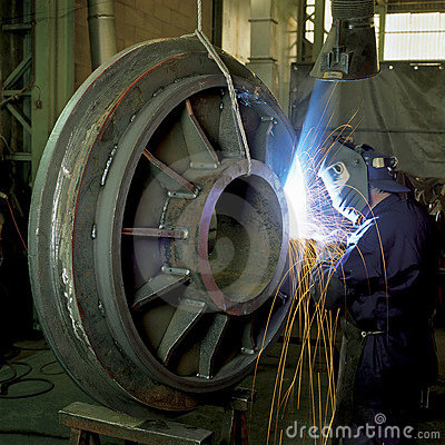 Worker on welding