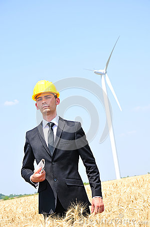 Worker on wind farm