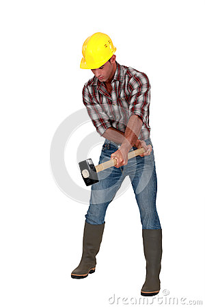 Free Worker With A Sledgehammer. Stock Image - 31133431