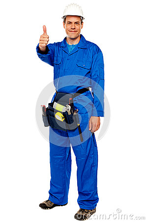 Free Worker With Tools Bag Showing Thumbs Up Stock Image - 25883761