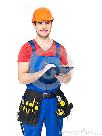 Free Worker With Tools, Planning And Writing The Note Royalty Free Stock Image - 29858686