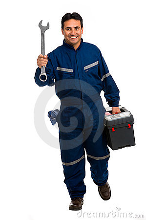 Free Worker With Wrench Royalty Free Stock Image - 21194186