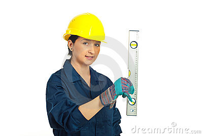 Worker woman with bubble line