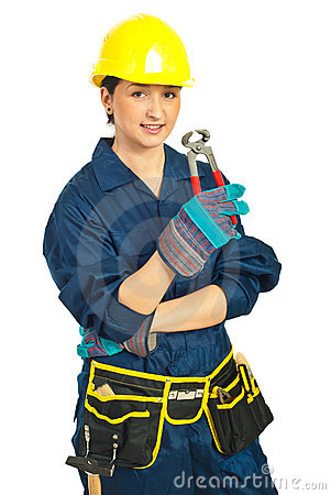 Worker woman holding pincers