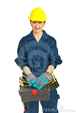 Worker woman holding tools container