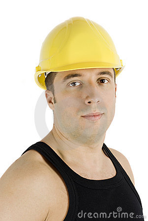 Worker in yellow hard hat