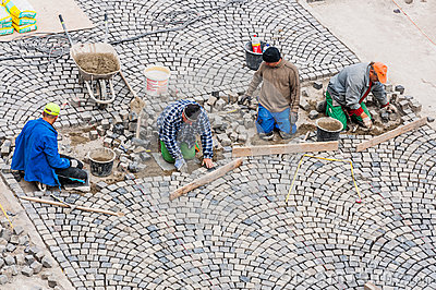 Workers building road paving in Buda Castle. Editorial Photography