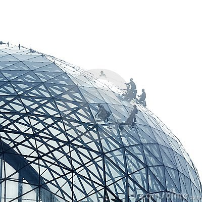 Workers Cleaning A Round Glass Facade Stock Image - Image: 10014031
