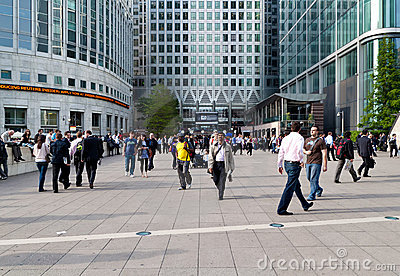 Workers and commuters in Canary Wharf Editorial Photography