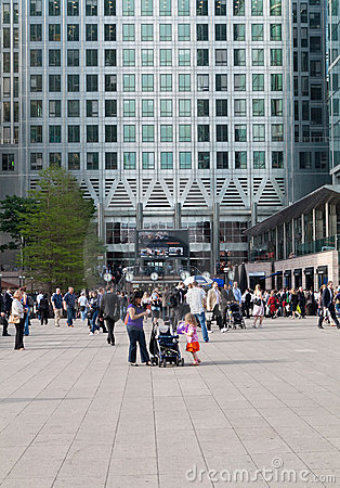 Workers and commuters in Canary Wharf Editorial Stock Image