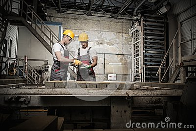Workers on a factory