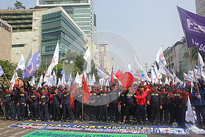 Workers held demonstration in Jakarta Editorial Stock Photo