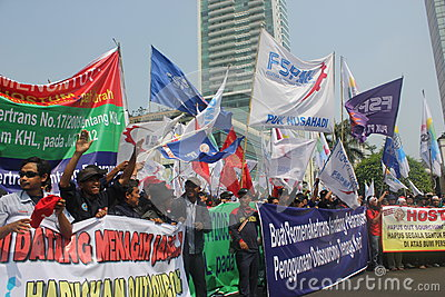Workers held demonstration in Jakarta Editorial Stock Image