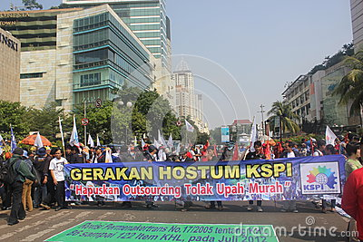 Workers held demonstration in Jakarta Editorial Photography