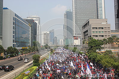 Workers held demonstration in Jakarta Editorial Photo