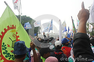 Workers held demonstration in Jakarta Editorial Image