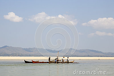 Workers on the Irrawaddy River Editorial Photography