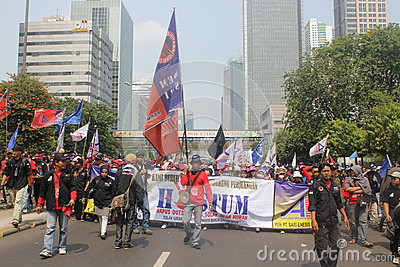Workers long marched in Jakarta Editorial Photo