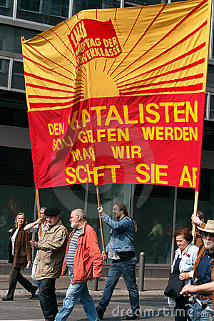 Workers marching in Frankfurt Editorial Image