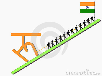Workers pulling Rupee sign