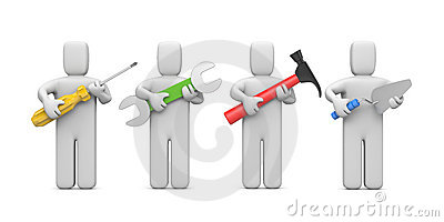 Workers with tools. Image contain clipping path