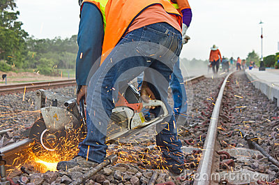 Workers were cutting tracks  maintenance.