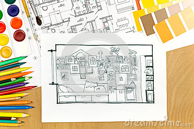 Working Arrangement Of An Architects Desk Stock