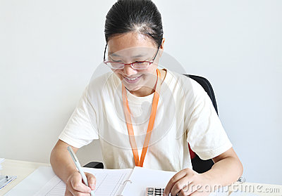Working asian woman
