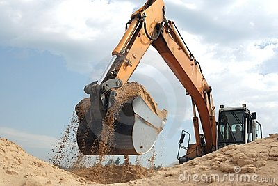 Working backhoe