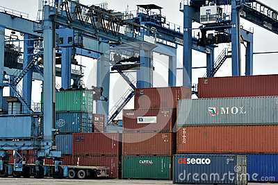 Working of container goods yard, Xiamen, China Editorial Image