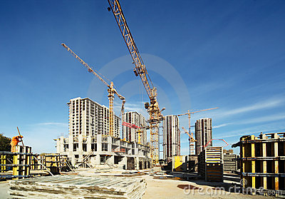 Working cranes, buildings under construction