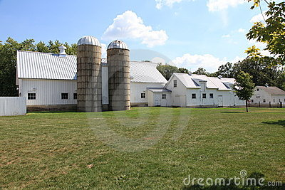 Working farm with twin silos