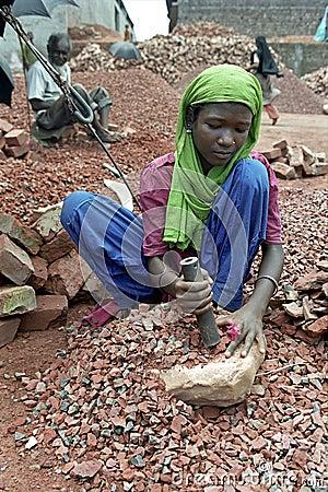 Child labor in breaking field, Dhaka, Bangladesh Editorial Photo