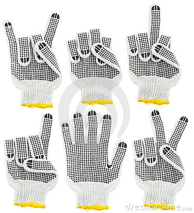 Working gloves, signs and gesture set
